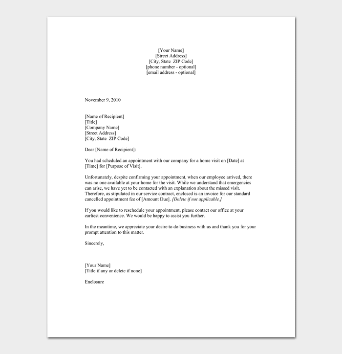 Missed Appointment Letter 10 Sample Letters