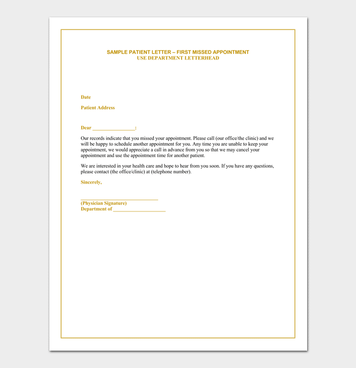Missed Appointment Letter Template for Patient