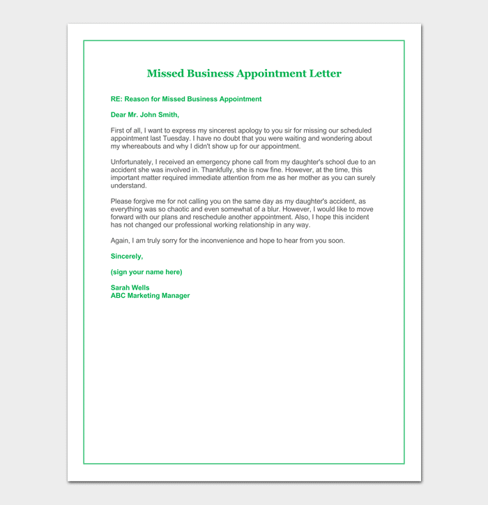 Missed Appointment Letter for Business