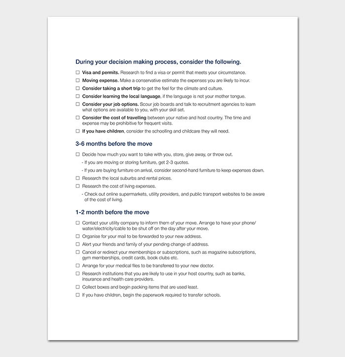 Moving Abroad Checklist Template