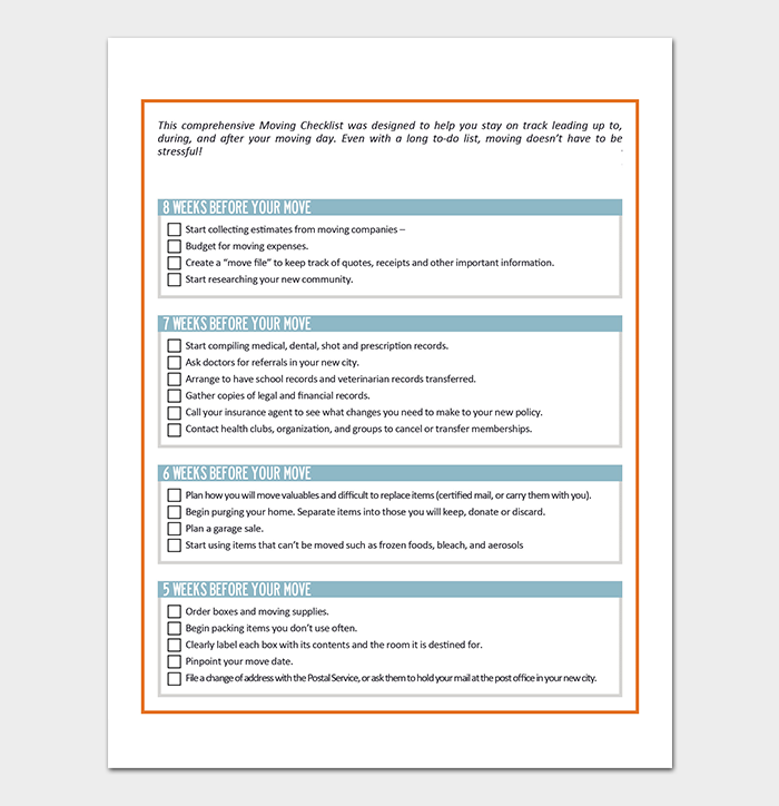 Moving Checklist Template - 20+ Free Printable For (Word, Excel, PDF)