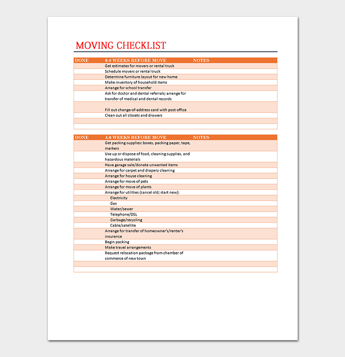 Moving Checklist Template Spreadsheet