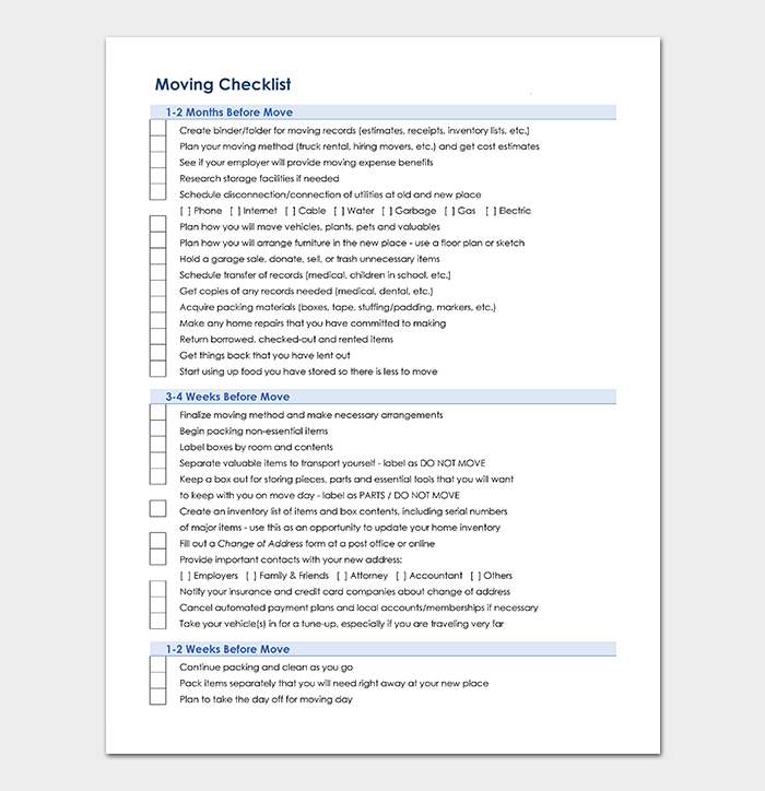 Moving Checklist Template Word