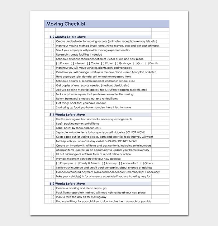 Moving Checklist in Excel