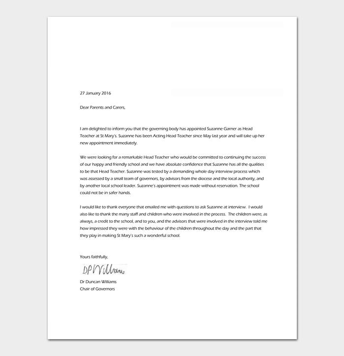 Music Teacher Appointment Letter Sample
