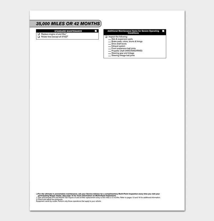 Nissan Service Maintenance Guide