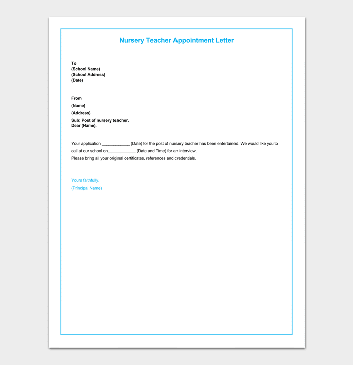 nursery teacher appointment letter format