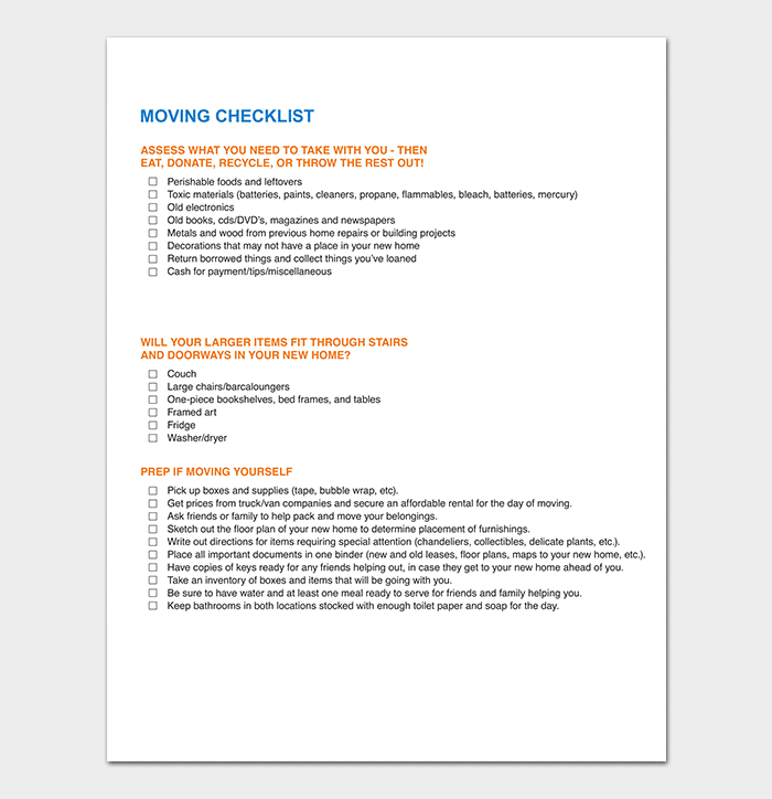 PDF Format of Moving Checklist Template