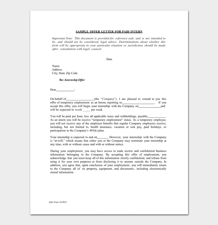Paid Internship Appointment Letter Sample