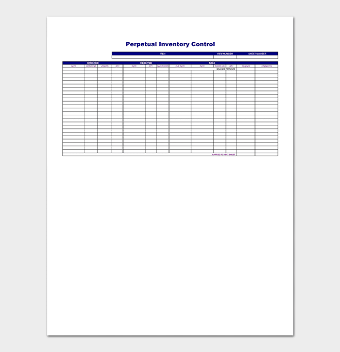 Perpetual Inventory Tracking Control Template