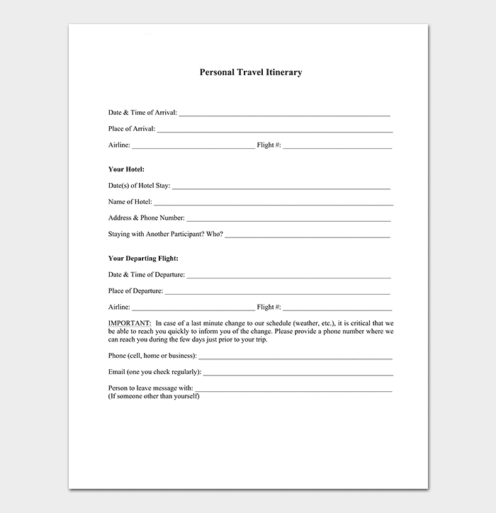 Business travel itinerary template 23 word excel pdf personal business travel itinerary template friedricerecipe Gallery