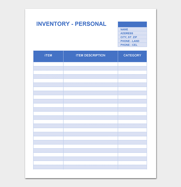Personal Inventory Tracking Template