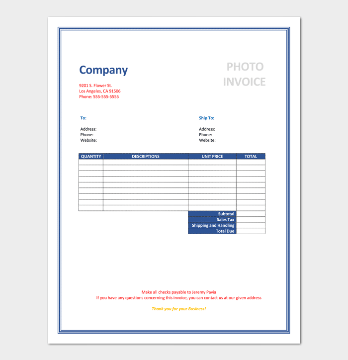 Photography Invoice Templates 9 Free Word Excel Pdf Format Template