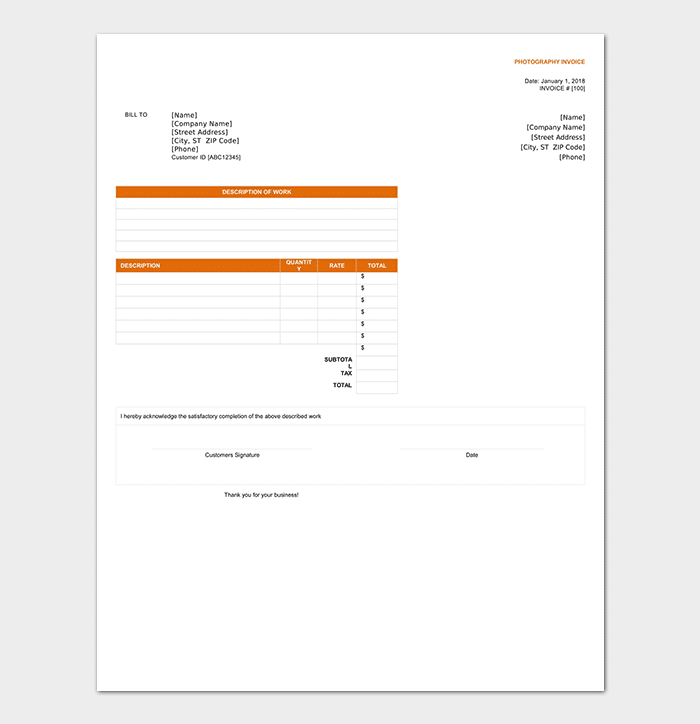 photography invoice template with complete info