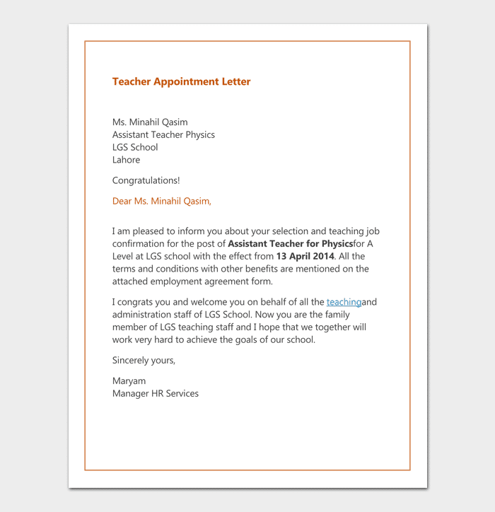 primary teacher appointment letter format