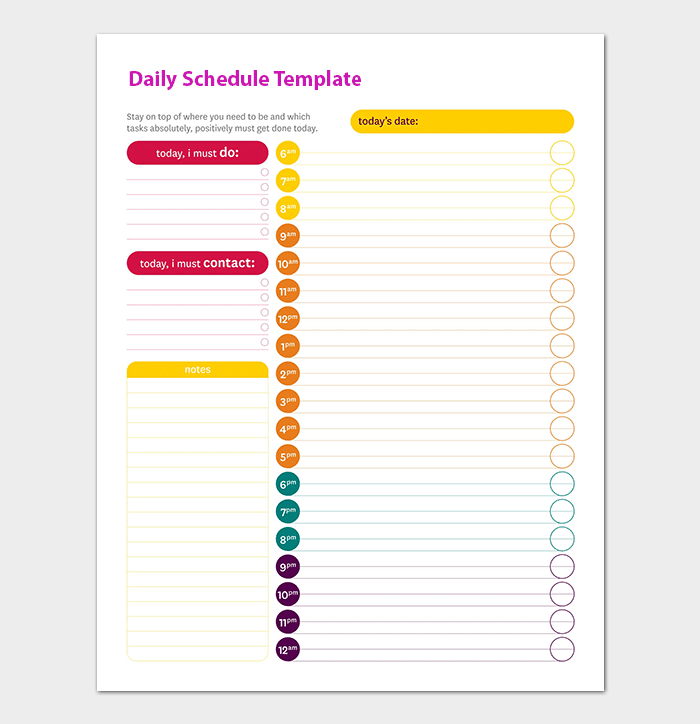 daily schedule template 22 planners for excel word pdf format