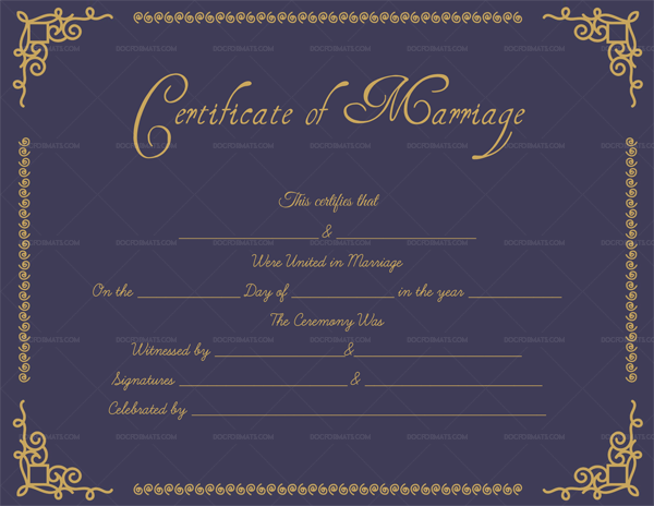 Printable Marriage Certificate Purple Gold Template