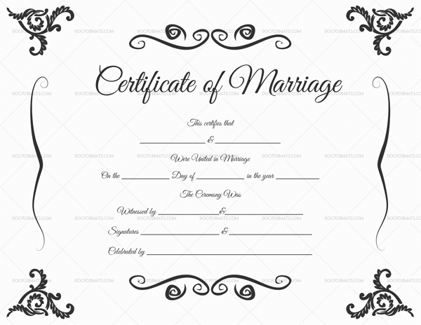 Printable Marriage Certificate Template 1