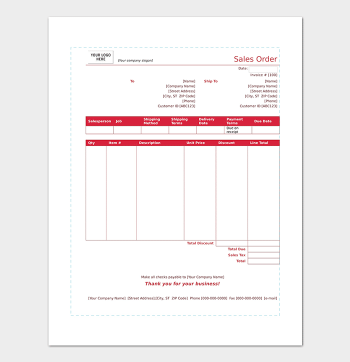 Printable Sales Order Form Example