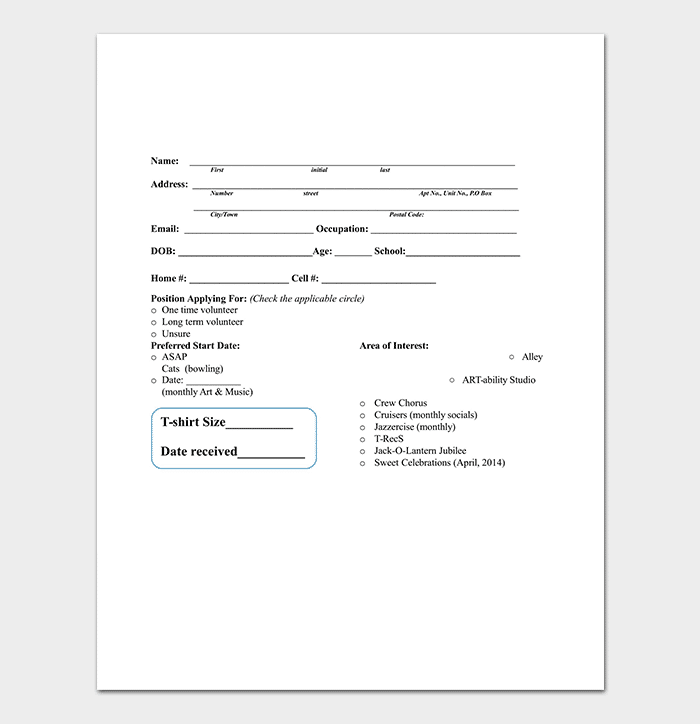 Printable Volunteer Application Template