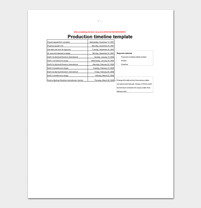 Production Timeline Template Sample In Editable Form