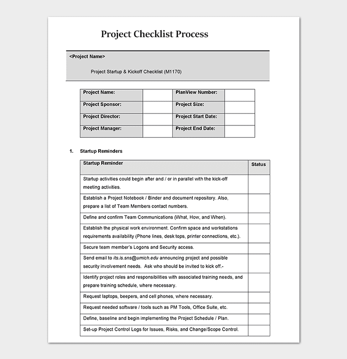 Process Checklist Template Editable Checklists Excel Word PDF - Process template word