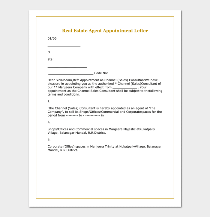 Real Estate Agent Appointment Letter Example