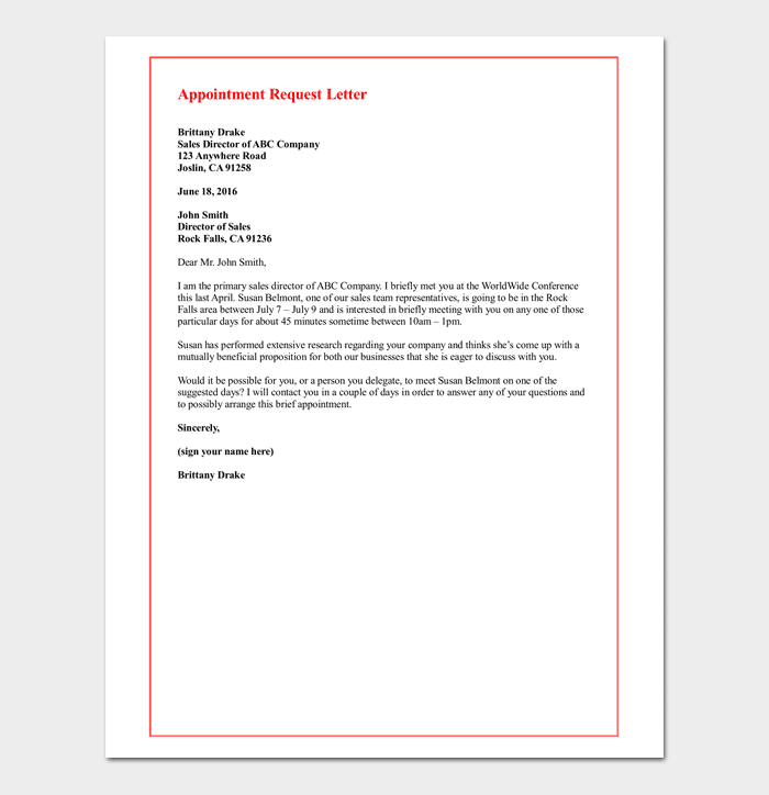 Appointment request letter 14 letter samples formats request letter for meeting appointment with client altavistaventures Image collections