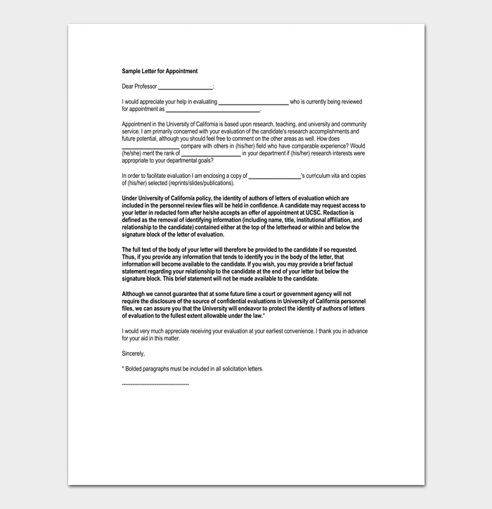 Request for Job Appointment Letter Format