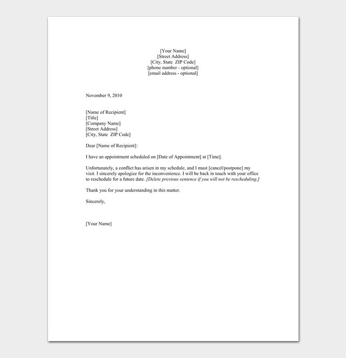 Request to Reschedule Format