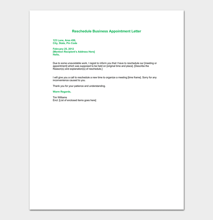 Reschedule Business Appointment Letter Format
