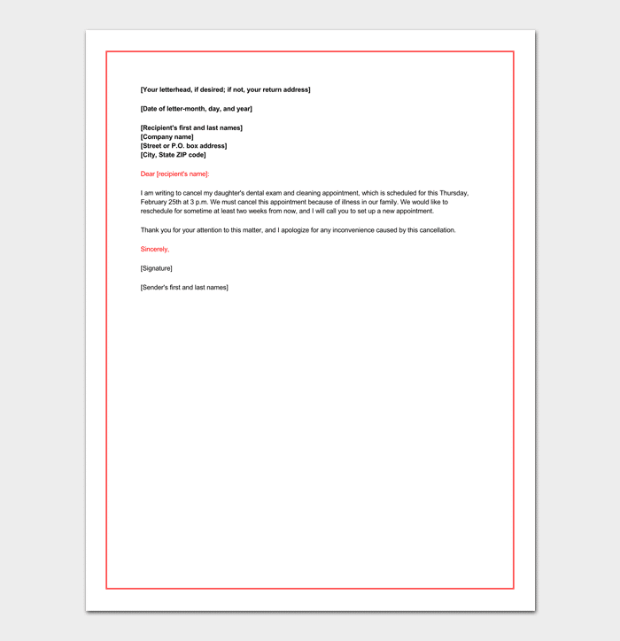 Reschedule Dental Appointment letter Example