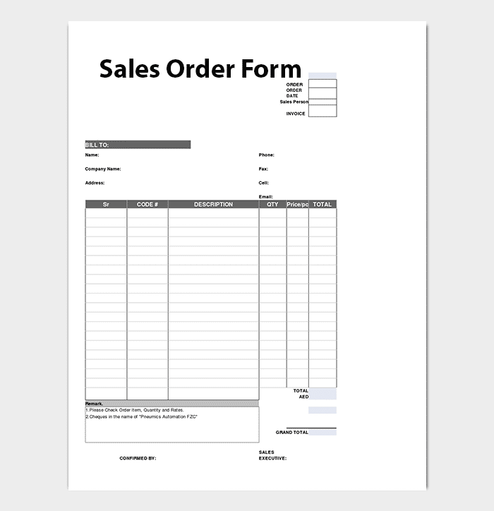 Sales Order Invoice Template