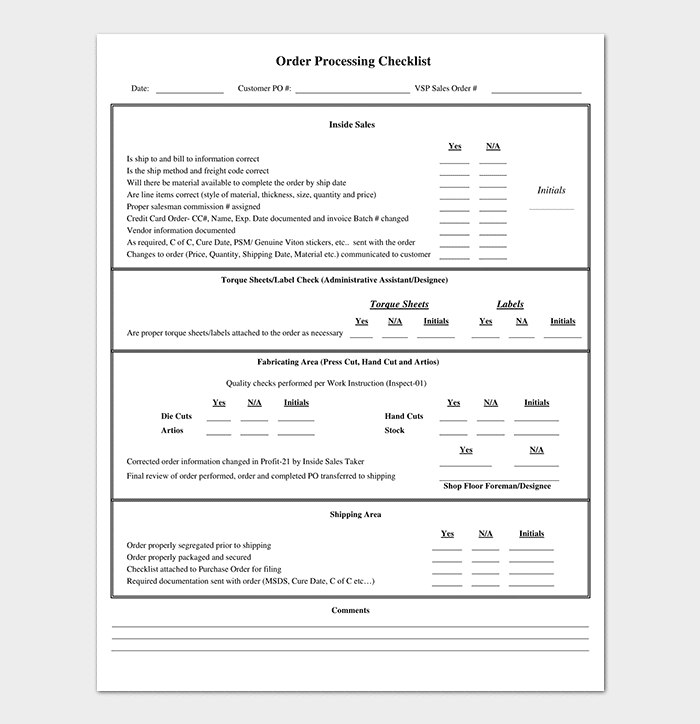 Process Checklist Template Editable Checklists Excel Word PDF - Shipping checklist template