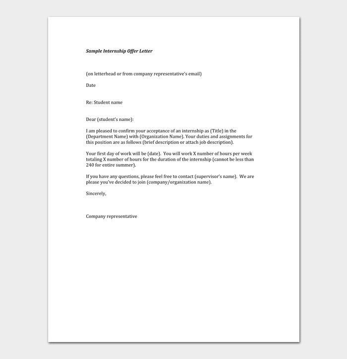 Sample Internship Appointment Template