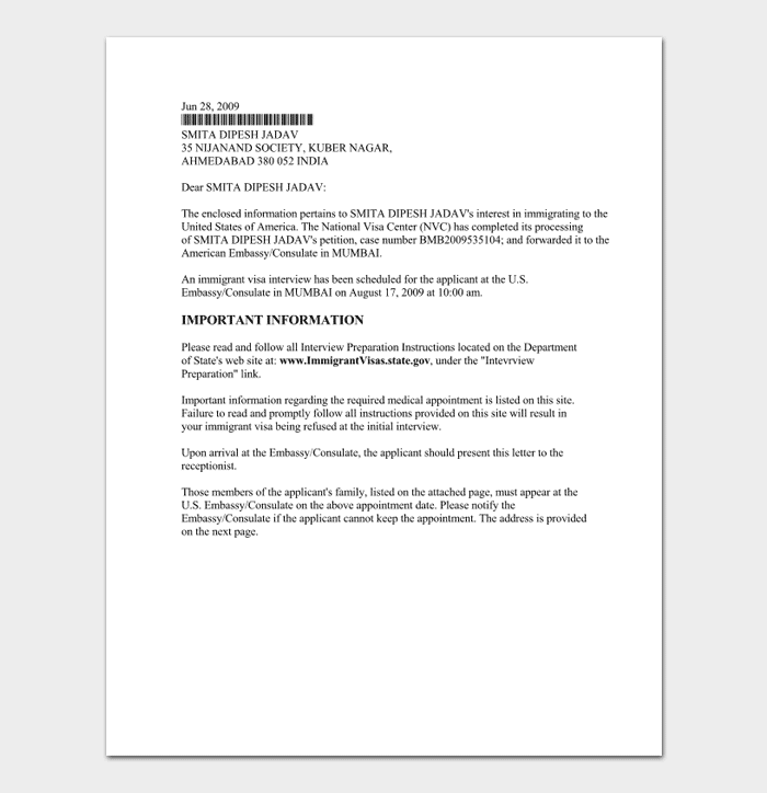 Interview appointment letter 15 samples formats sample interview appointment letter from nvc expocarfo Images