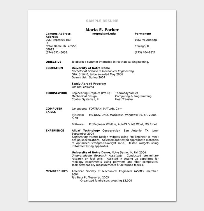 Sample Mechanical Engineering Resume