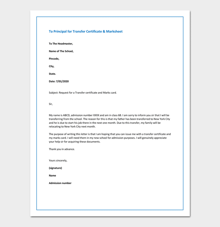 Request letter to principal for transfer certificate marksheet what to include in a request letter for transfer certificate marksheet altavistaventures Gallery