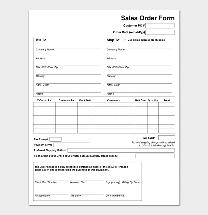 Sample Sales Order Form Template