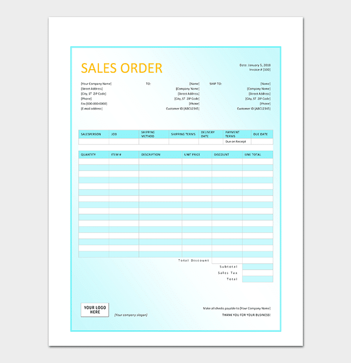 Sample Sales Order Template