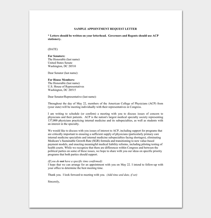 sample of appointment request letter