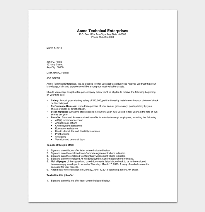 Sample of Business Analyst Appointment Letter