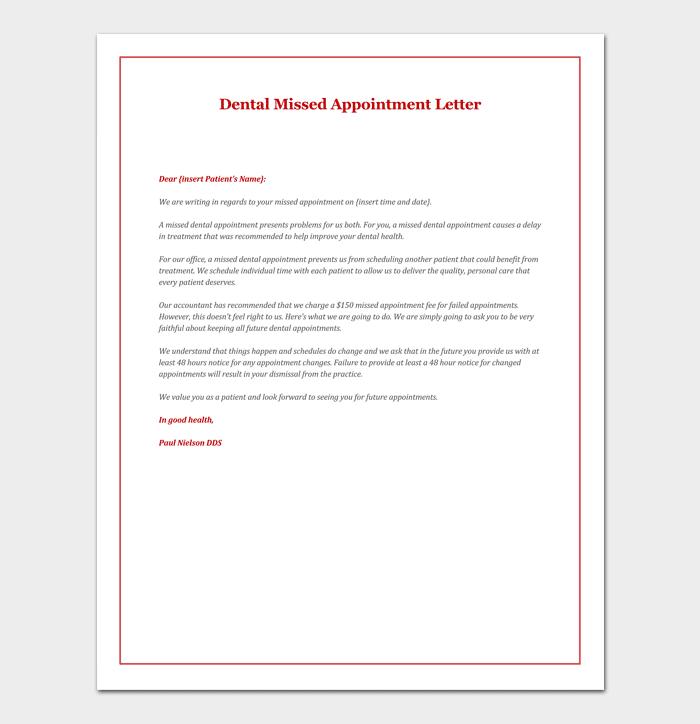 Sample of Dental Missed Appointment Letter