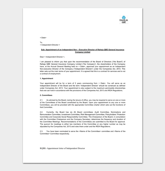 Company appointment letter 17 samples for word doc pdf format sample of insurance company appointment letter altavistaventures Image collections