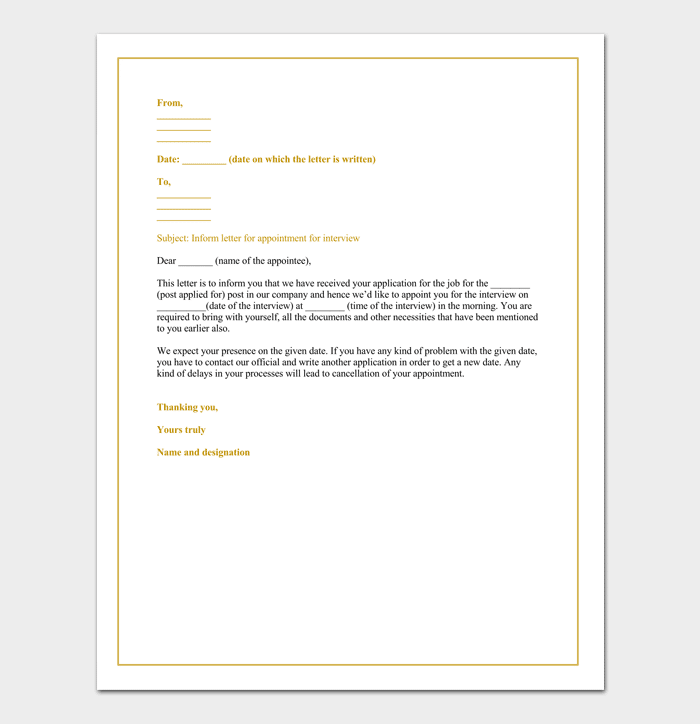 Sample of Job Interview Appointment Letter