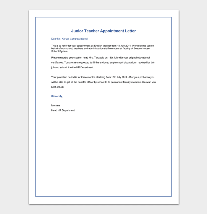 Teacher appointment letter 12 sample letters formats sample of junior teacher appointment letter altavistaventures Gallery