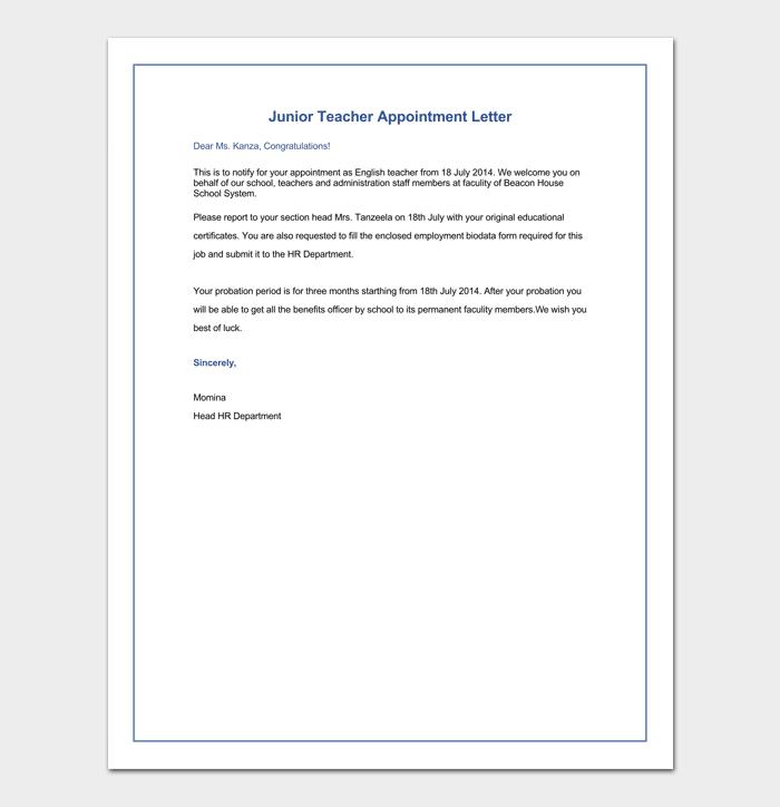 Sample of Junior Teacher Appointment Letter