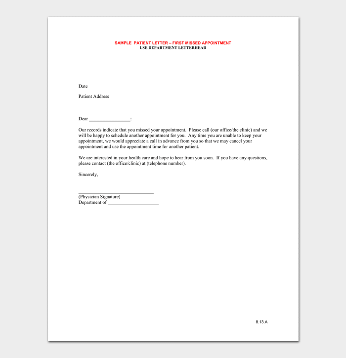 Sample of Missed Doctor Appointment Letter