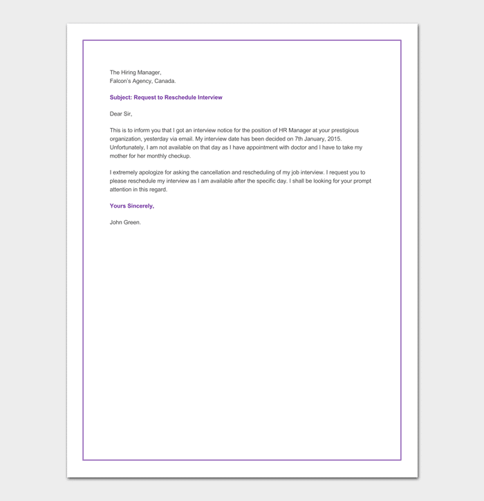 Reschedule Appointment Letter 10 Samples Formats