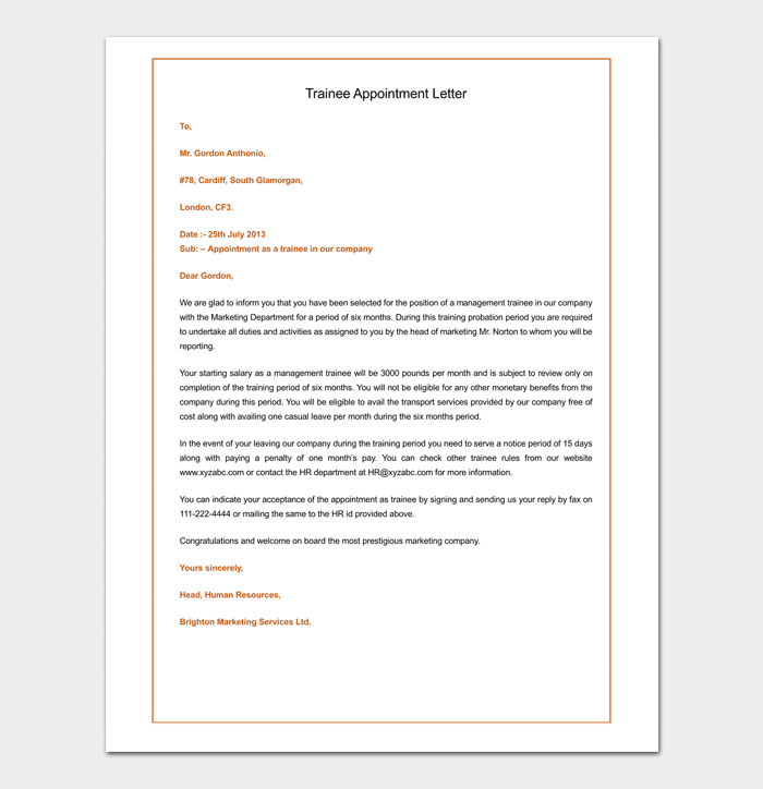 Sample of Trainee Appointment Letter
